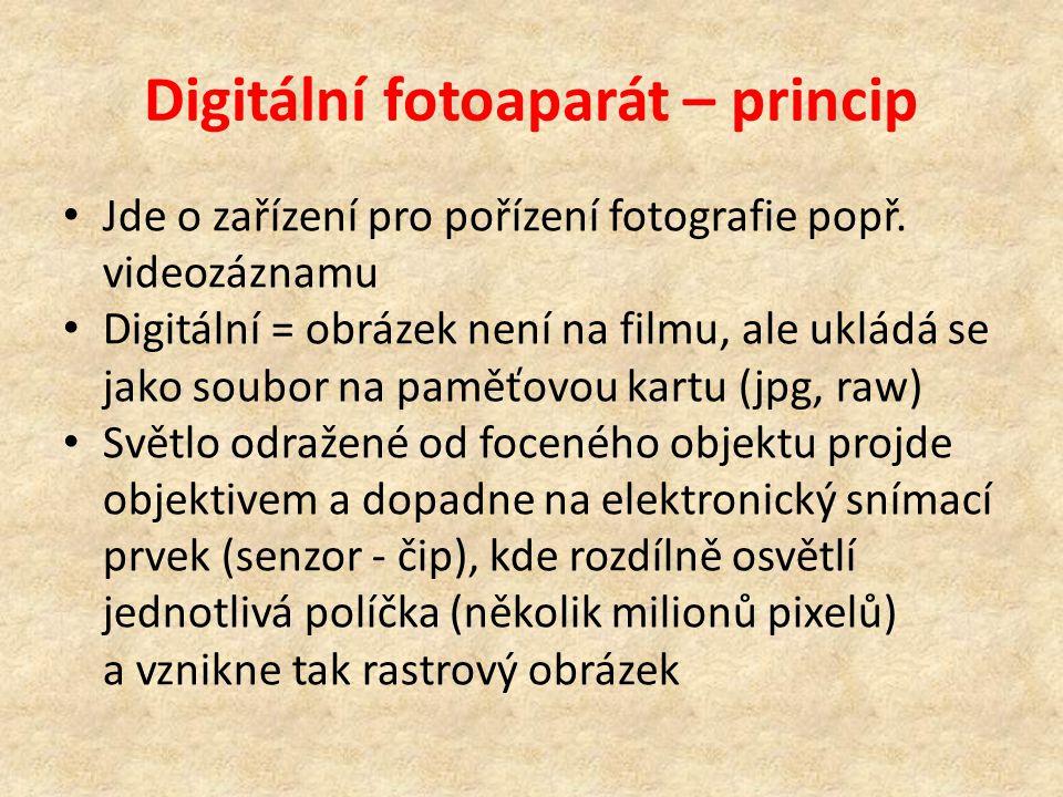 Digitální fotoaparát – princip Jde o zařízení pro pořízení fotografie popř. videozáznamu Digitální = obrázek není na filmu, ale ukládá se jako soubor