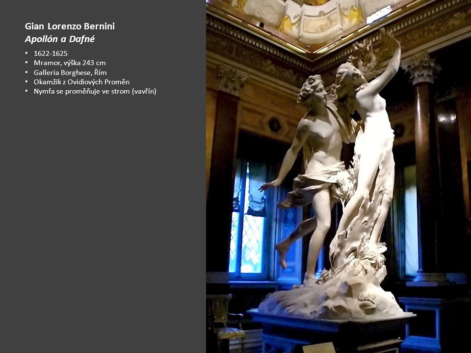 Gian Lorenzo Bernini Apollón a Dafné 1622-1625 1622-1625 Mramor, výška 243 cm Mramor, výška 243 cm Galleria Borghese, Řím Galleria Borghese, Řím Okamžik z Ovidiových Proměn Okamžik z Ovidiových Proměn Nymfa se proměňuje ve strom (vavřín) Nymfa se proměňuje ve strom (vavřín)