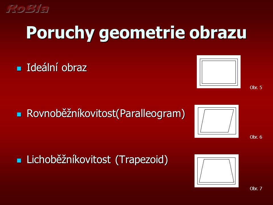 Poruchy geometrie obrazu Poduškovitost (Pincushion) Poduškovitost (Pincushion) Soudkovitost Soudkovitost Posunutí (Shift) Posunutí (Shift) Obr.