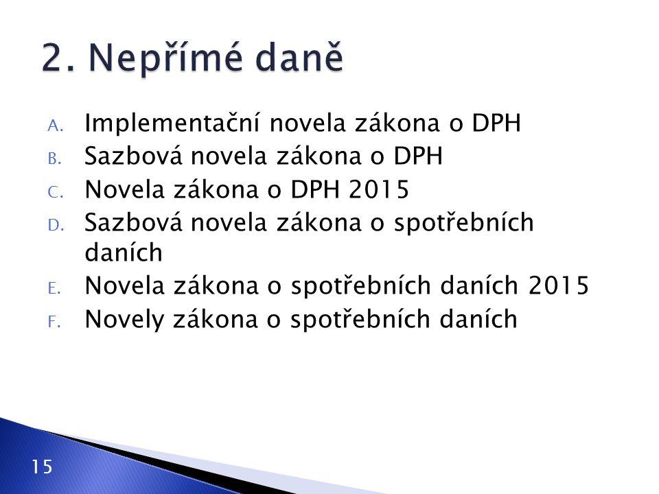 A.Implementační novela zákona o DPH B. Sazbová novela zákona o DPH C.