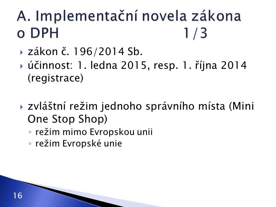  zákon č. 196/2014 Sb.  účinnost: 1. ledna 2015, resp. 1. října 2014 (registrace)  zvláštní režim jednoho správního místa ( Mini One Stop Shop) ◦ r