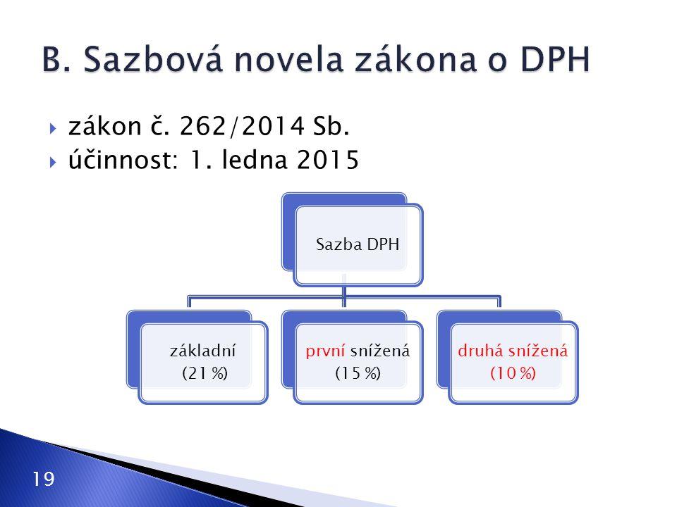  zákon č. 262/2014 Sb.  účinnost: 1. ledna 2015 19 Sazba DPH základní (21 %) první snížená (15 %) druhá snížená (10 %)
