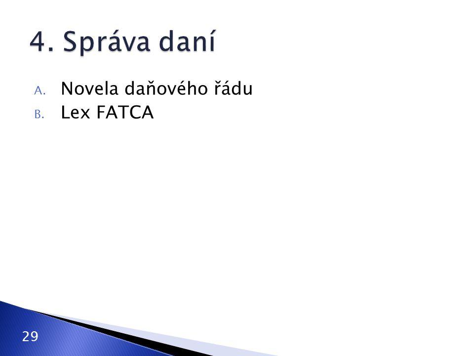 A. Novela daňového řádu B. Lex FATCA 29