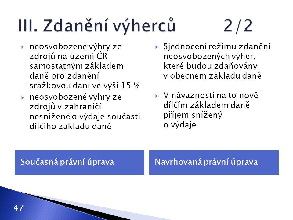 Současná právní úpravaNavrhovaná právní úprava  neosvobozené výhry ze zdrojů na území ČR samostatným základem daně pro zdanění srážkovou daní ve výši 15 %  neosvobozené výhry ze zdrojů v zahraničí nesnížené o výdaje součástí dílčího základu daně  Sjednocení režimu zdanění neosvobozených výher, které budou zdaňovány v obecném základu daně  V návaznosti na to nově dílčím základem daně příjem snížený o výdaje 47