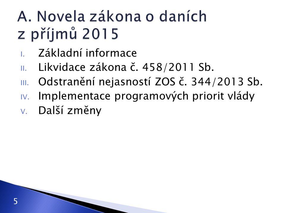 I. Základní informace II. Likvidace zákona č. 458/2011 Sb. III. Odstranění nejasností ZOS č. 344/2013 Sb. IV. Implementace programových priorit vlády
