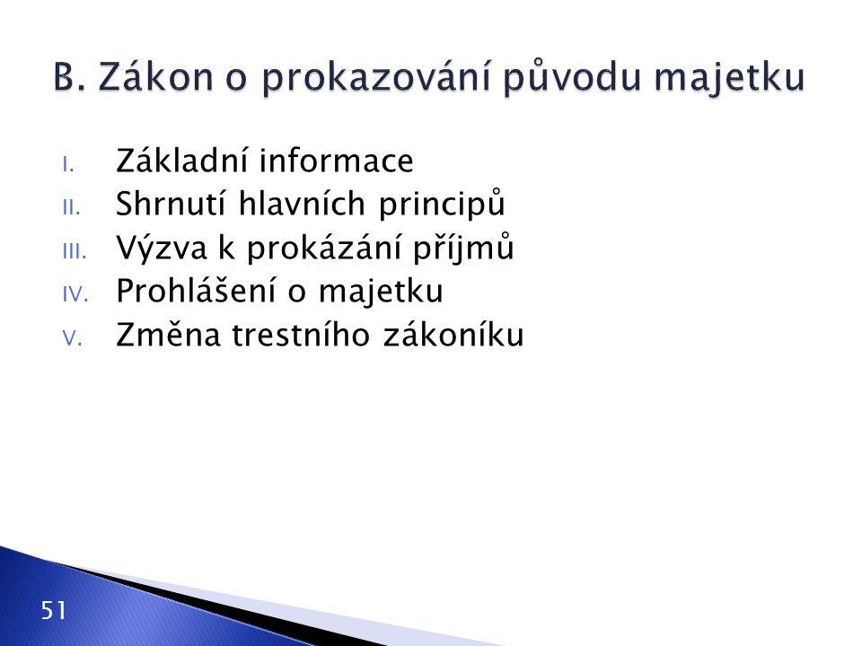 I. Základní informace II. Shrnutí hlavních principů III. Výzva k prokázání příjmů IV. Prohlášení o majetku V. Změna trestního zákoníku 51