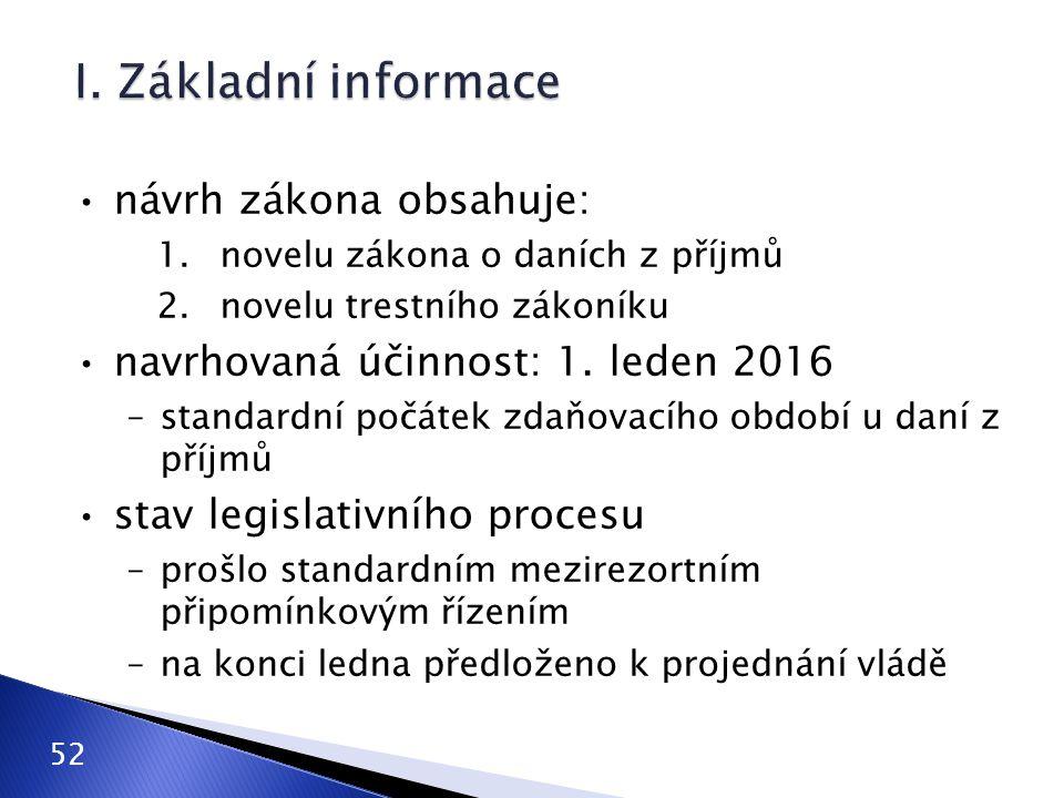 návrh zákona obsahuje: 1.novelu zákona o daních z příjmů 2.novelu trestního zákoníku navrhovaná účinnost: 1. leden 2016 –standardní počátek zdaňovacíh