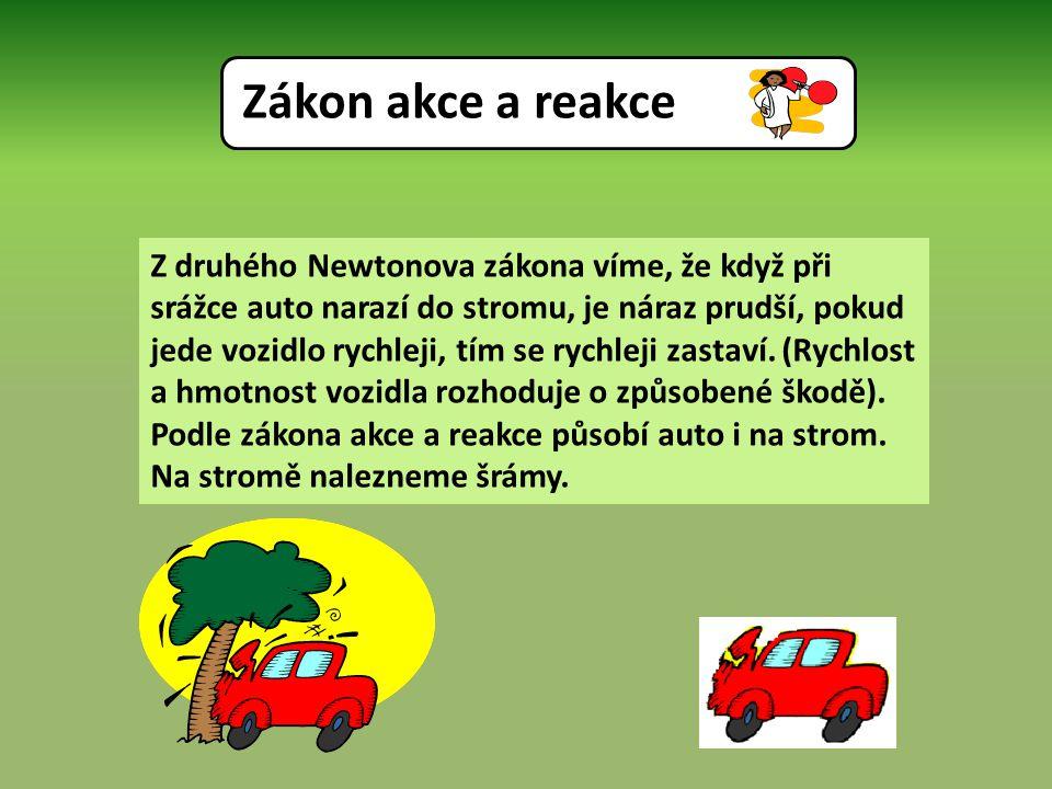 Z druhého Newtonova zákona víme, že když při srážce auto narazí do stromu, je náraz prudší, pokud jede vozidlo rychleji, tím se rychleji zastaví.