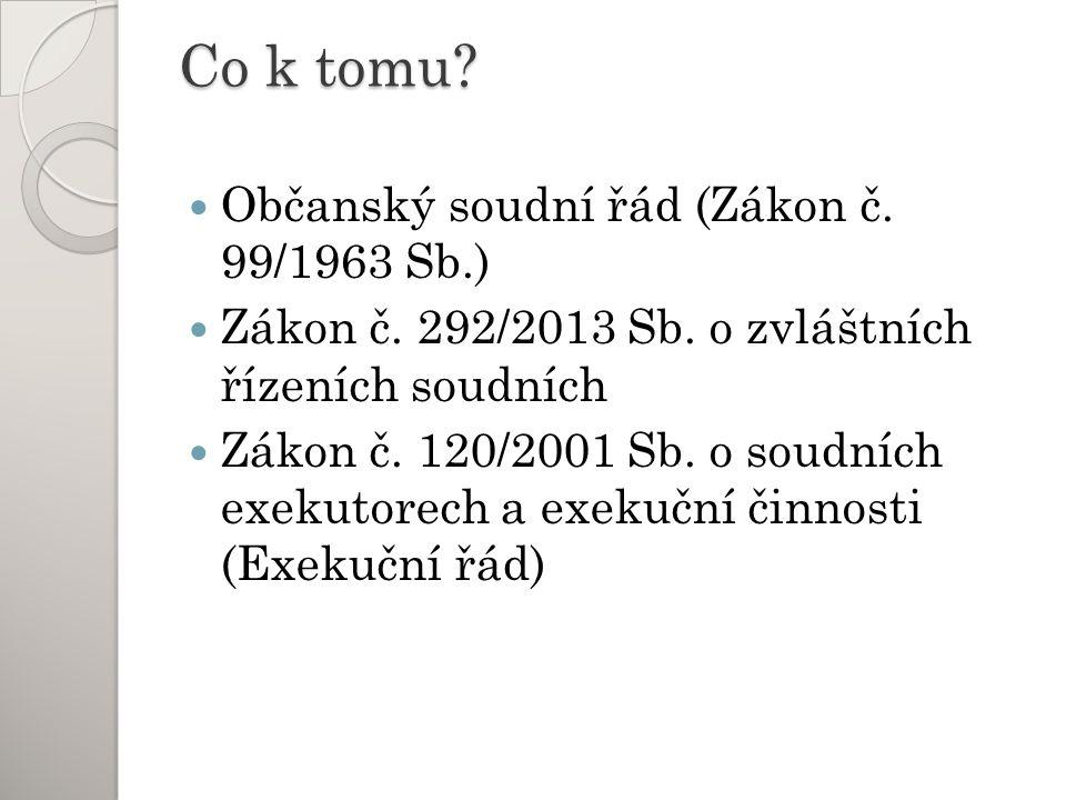 Co k tomu. Občanský soudní řád (Zákon č. 99/1963 Sb.) Zákon č.