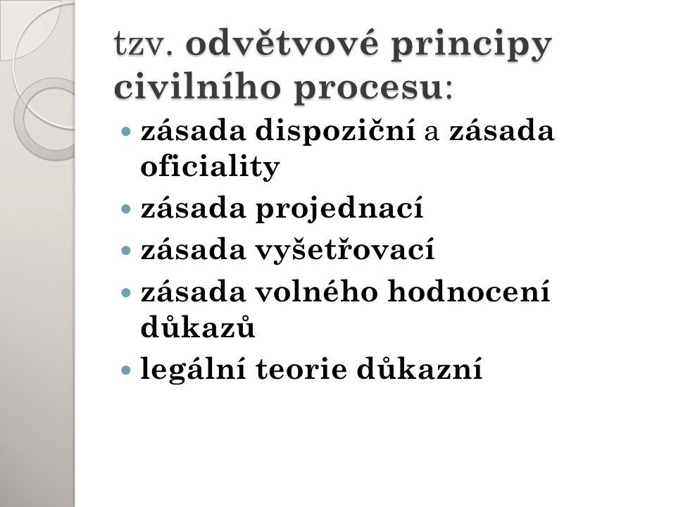 tzv. odvětvové principy civilního procesu : zásada dispoziční a zásada oficiality zásada projednací zásada vyšetřovací zásada volného hodnocení důkazů