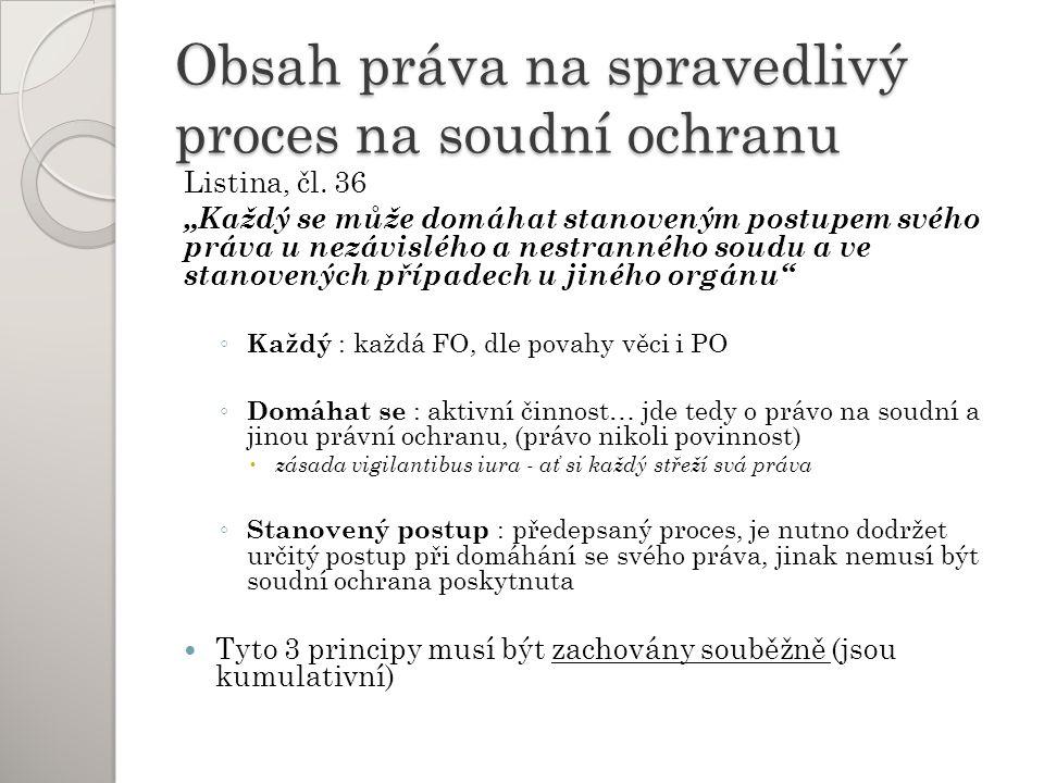 Obsah práva na spravedlivý proces na soudní ochranu Listina, čl.
