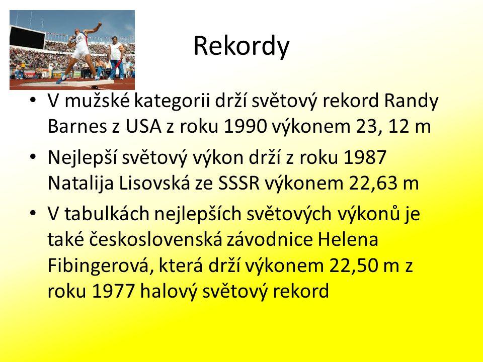 Rekordy V mužské kategorii drží světový rekord Randy Barnes z USA z roku 1990 výkonem 23, 12 m Nejlepší světový výkon drží z roku 1987 Natalija Lisovs