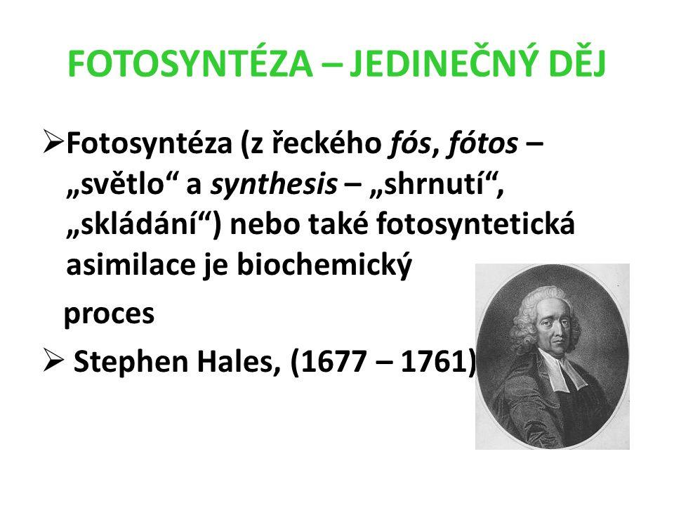 """FOTOSYNTÉZA – JEDINEČNÝ DĚJ  Fotosyntéza (z řeckého fós, fótos – """"světlo a synthesis – """"shrnutí , """"skládání ) nebo také fotosyntetická asimilace je biochemický proces  Stephen Hales, (1677 – 1761)"""