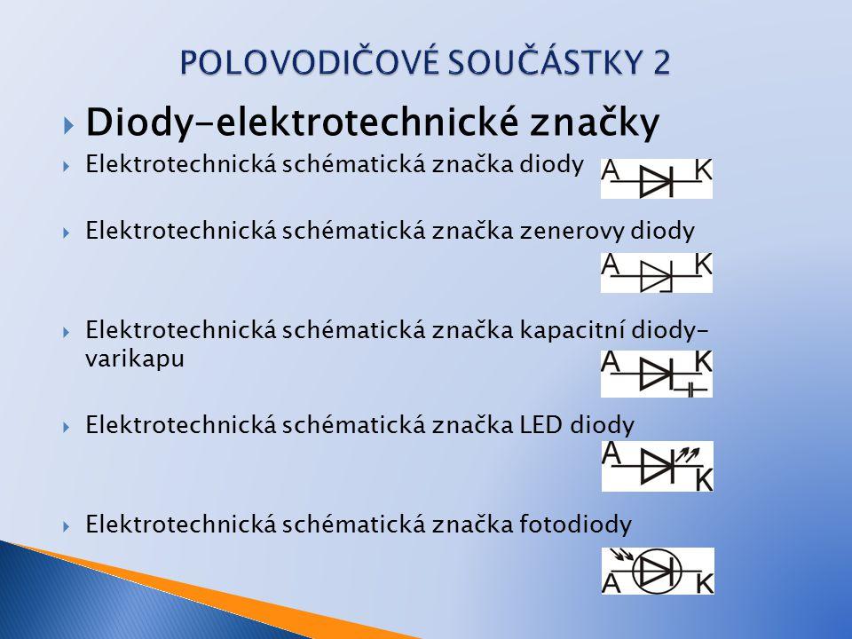  DĚLENÍ DIOD  Podle konstrukčního principu a účelu: Hrotová dioda– historicky nejstarší typ polovodičových diod, základ krystalky Plošná dioda Schotkyho dioda – Nevyužívá P-N přechodu, ale přechodu kov- polovodič Spínací dioda - 0,1 až 0,2 V Usměrňovací dioda - 0,5 V