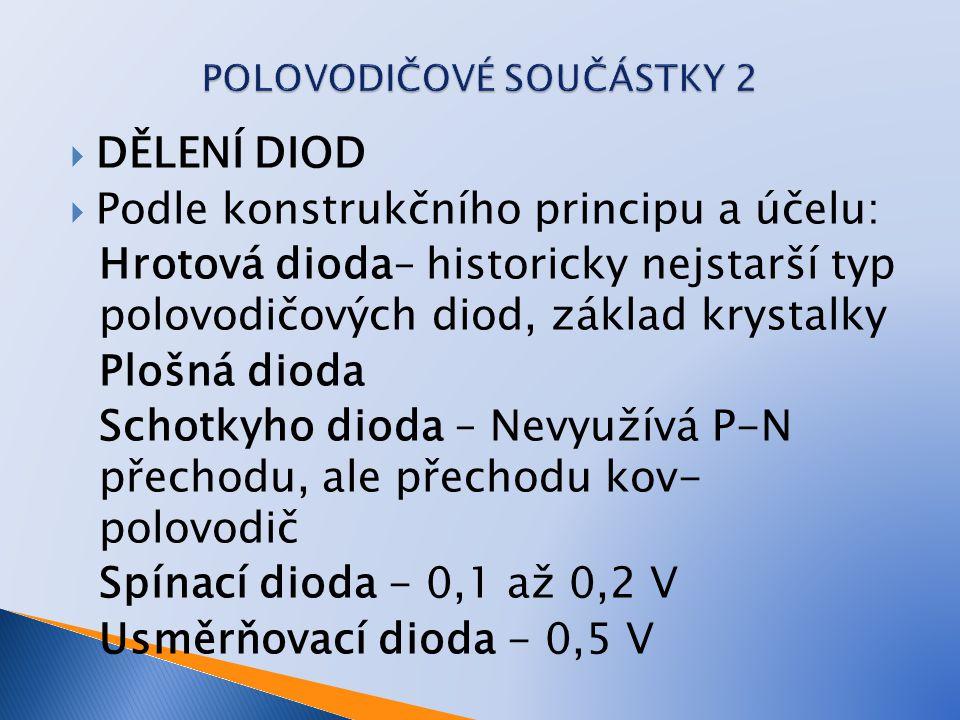  DĚLENÍ DIOD  Podle konstrukčního principu a účelu: Hrotová dioda– historicky nejstarší typ polovodičových diod, základ krystalky Plošná dioda Schot