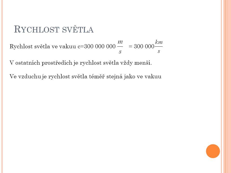 R YCHLOST SVĚTLA Rychlost světla ve vakuu c=300 000 000 = 300 000 V ostatních prostředích je rychlost světla vždy menší. Ve vzduchu je rychlost světla