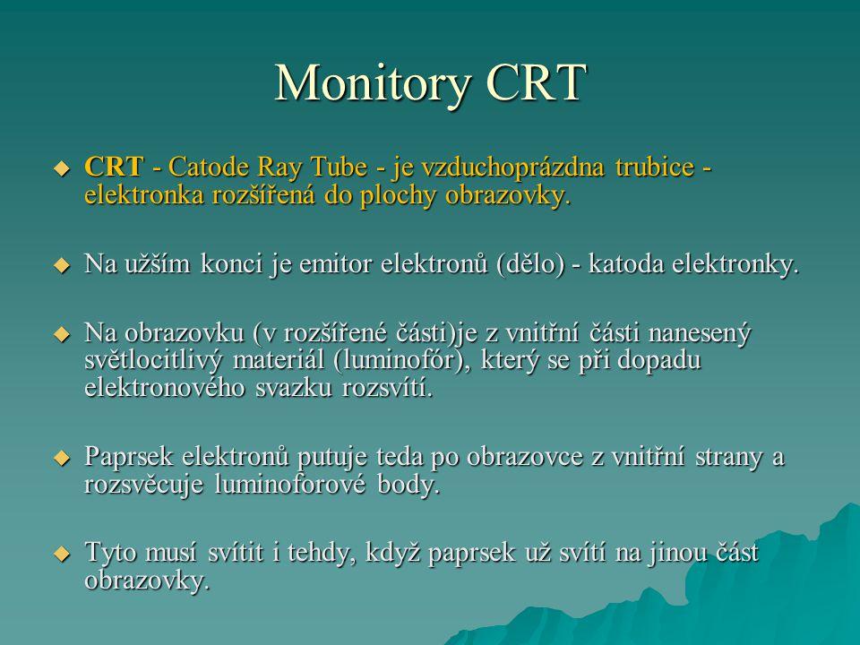 Monitory CRT  Aby paprsek nesvítil taky na sousední body luminoforového rastru, je mezi ním a emitorem vložená mřížka (maska) s přesnými otvory.