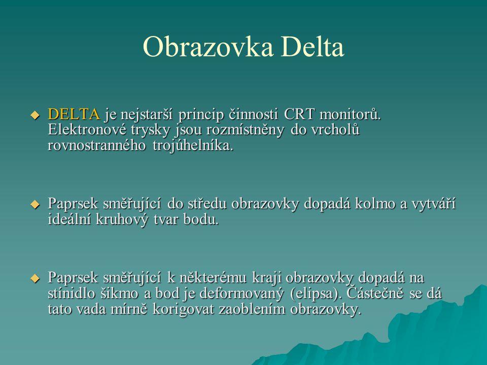 Obrazovka Delta  DELTA je nejstarší princip činnosti CRT monitorů. Elektronové trysky jsou rozmístněny do vrcholů rovnostranného trojúhelníka.  Papr