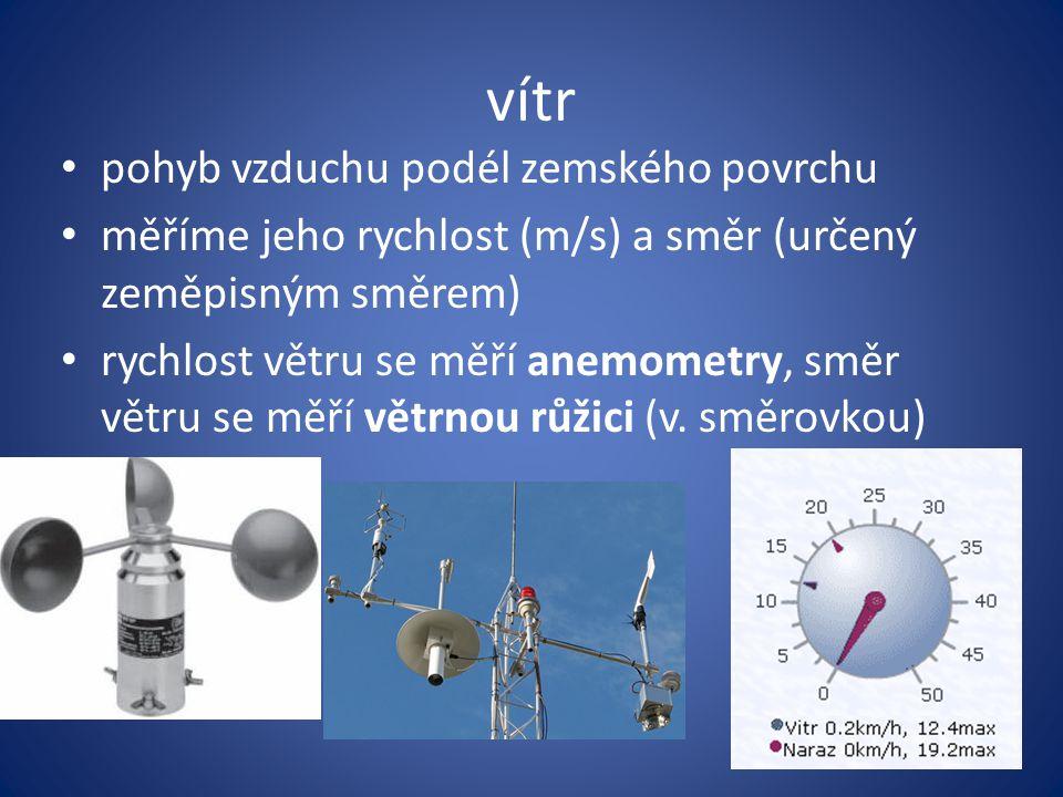 vítr pohyb vzduchu podél zemského povrchu měříme jeho rychlost (m/s) a směr (určený zeměpisným směrem) rychlost větru se měří anemometry, směr větru s