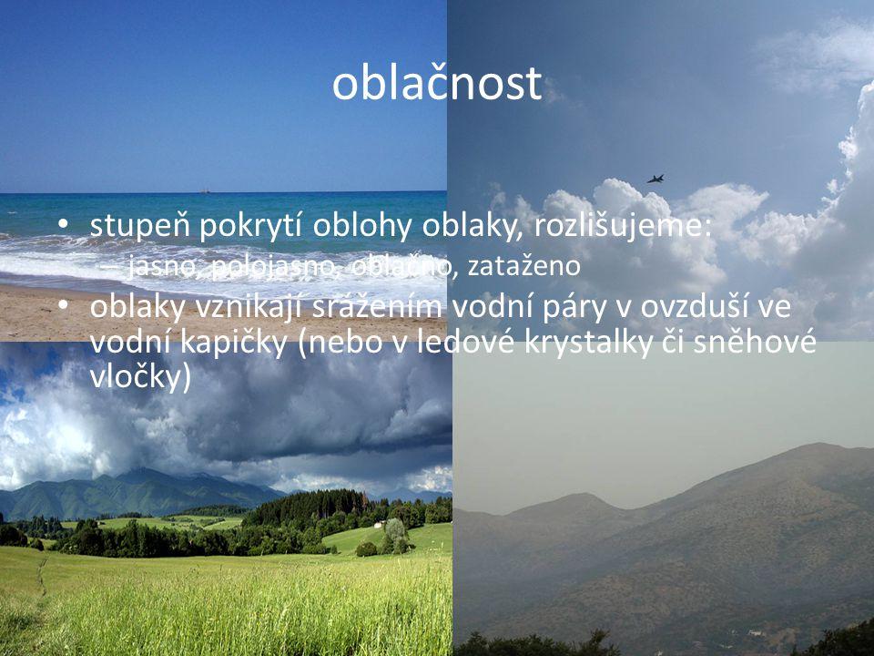 oblačnost stupeň pokrytí oblohy oblaky, rozlišujeme: – jasno, polojasno, oblačno, zataženo oblaky vznikají srážením vodní páry v ovzduší ve vodní kapi