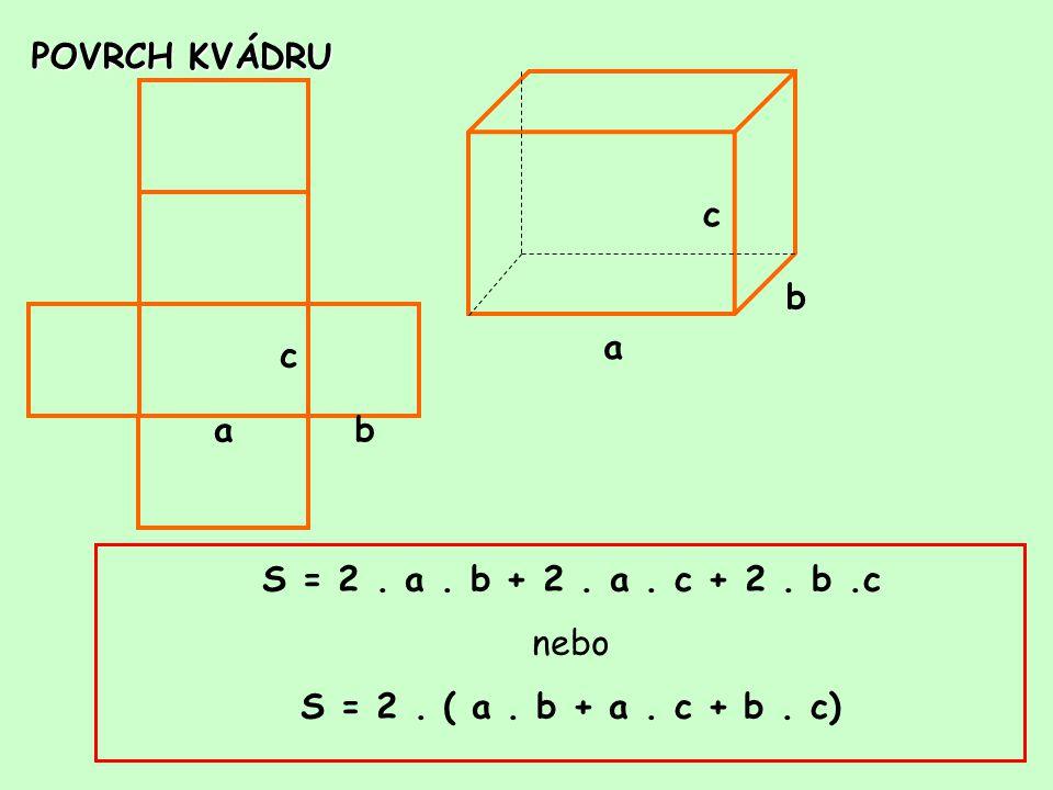 POVRCH KVÁDRU a c b c ba S = 2. a. b + 2. a. c + 2. b.c nebo S = 2. ( a. b + a. c + b. c)