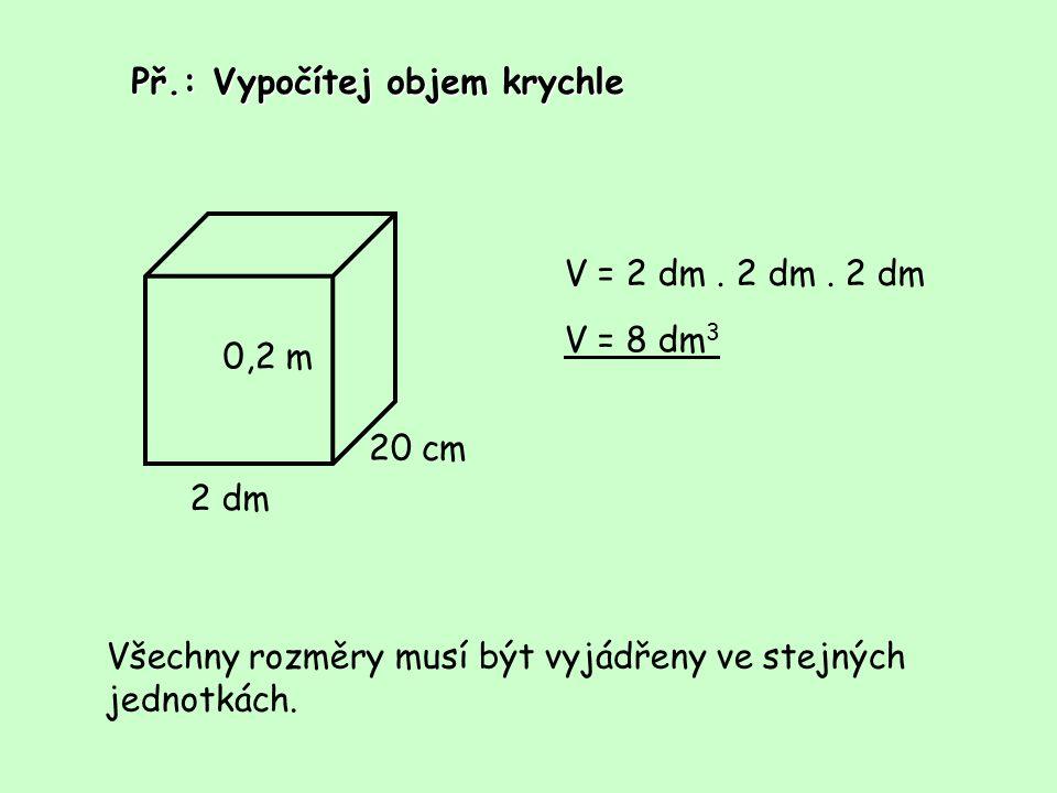 Př.: Vypočítej objem krychle 2 dm 0,2 m 20 cm V = 2 dm. 2 dm. 2 dm V = 8 dm 3 Všechny rozměry musí být vyjádřeny ve stejných jednotkách.