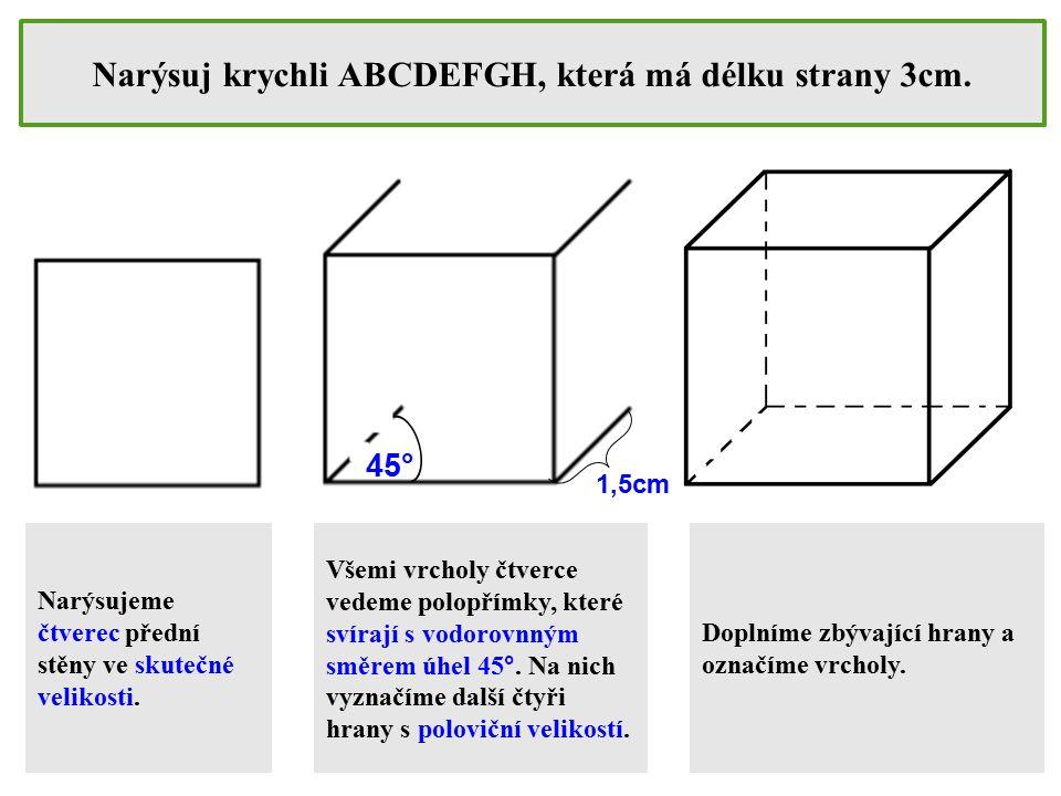 Narýsuj krychli ABCDEFGH, která má délku strany 3cm. Narýsujeme čtverec přední stěny ve skutečné velikosti. Všemi vrcholy čtverce vedeme polopřímky, k