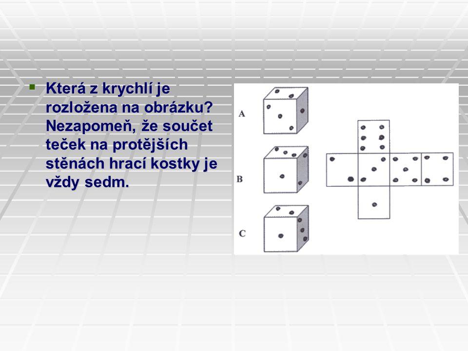  Která z krychlí je rozložena na obrázku? Nezapomeň, že součet teček na protějších stěnách hrací kostky je vždy sedm.  Která z krychlí je rozložena