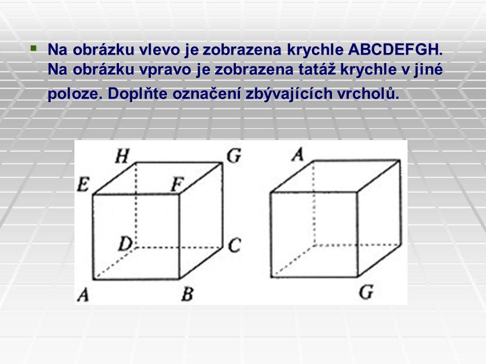  Na obrázku vlevo je zobrazena krychle ABCDEFGH. Na obrázku vpravo je zobrazena tatáž krychle v jiné poloze. Doplňte označení zbývajících vrcholů.