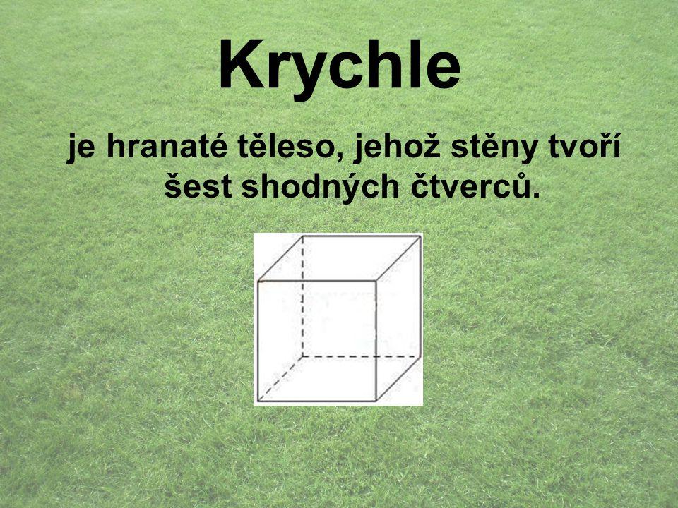 Krychle je hranaté těleso, jehož stěny tvoří šest shodných čtverců.