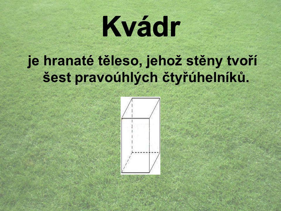 Kvádr je hranaté těleso, jehož stěny tvoří šest pravoúhlých čtyřúhelníků. Kvádr
