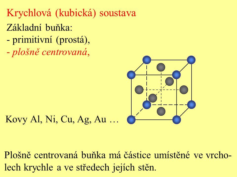 Krychlová (kubická) soustava Základní buňka: - primitivní (prostá), - plošně centrovaná, Plošně centrovaná buňka má částice umístěné ve vrcho- lech kr