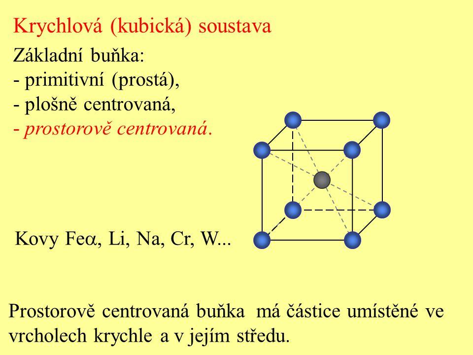 Krychlová (kubická) soustava Základní buňka: - primitivní (prostá), - plošně centrovaná, - prostorově centrovaná. Prostorově centrovaná buňka má části