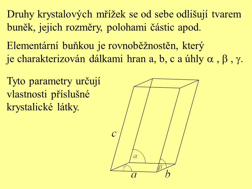 Druhy krystalových mřížek se od sebe odlišují tvarem buněk, jejich rozměry, polohami částic apod. Elementární buňkou je rovnoběžnostěn, který je chara