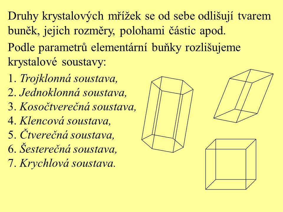 Druhy krystalových mřížek se od sebe odlišují tvarem buněk, jejich rozměry, polohami částic apod. Podle parametrů elementární buňky rozlišujeme krysta