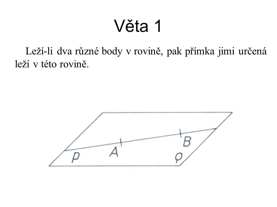 Věta 1 Leží-li dva různé body v rovině, pak přímka jimi určená leží v této rovině.