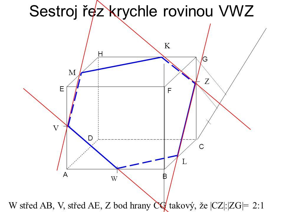 Sestroj řez krychle rovinou VWZ A B C D E F G H W střed AB, V, střed AE, Z bod hrany CG takový, že |CZ|:|ZG|= 2:1 W V Z L M K