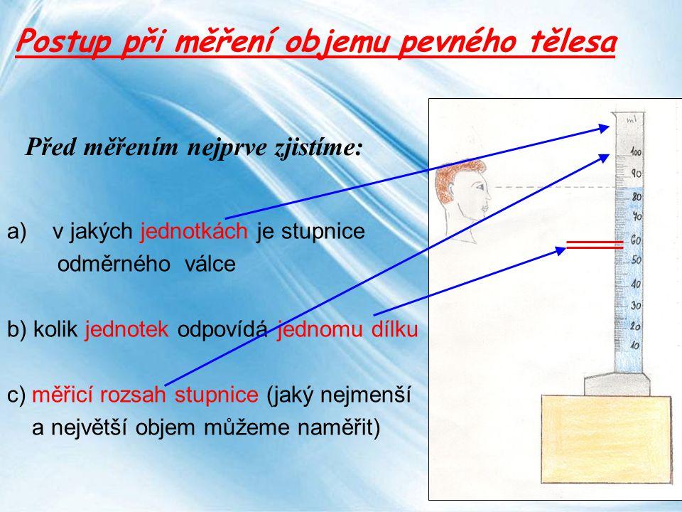 Page 15 Před měřením nejprve zjistíme: a)v jakých jednotkách je stupnice odměrného válce b) kolik jednotek odpovídá jednomu dílku c) měřicí rozsah stu