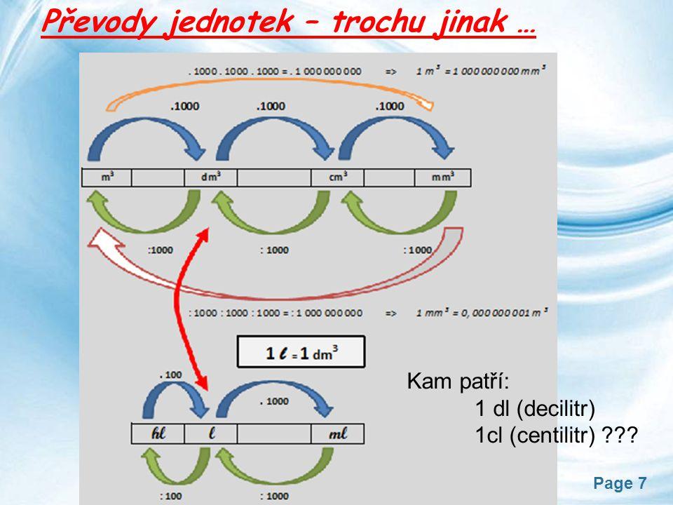 Page 8 Důležité vztahy při převádění jednotek : 1dm 3 Z praxe: 10 l 200 l 0,5 l 0,33 l 5 ml