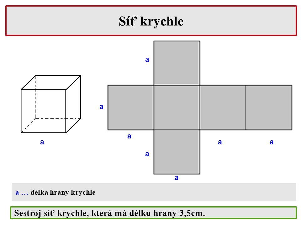 a b c Síť kvádru a ab b b b c a, b, c … délky hran kvádru Síť nemusí vypadat zrovna jako na obrázku (zkus načrtnout jinou síť) Sestroj síť kvádru s rozměry 4cm, 3cm a 6cm.