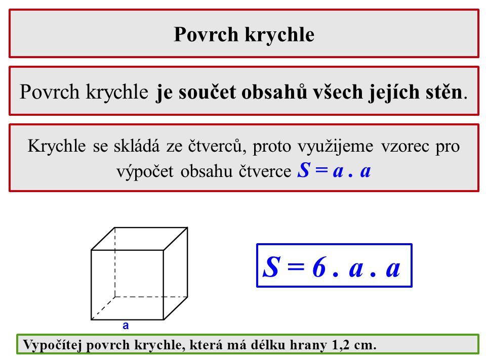 Povrch krychle Krychle se skládá ze čtverců, proto využijeme vzorec pro výpočet obsahu čtverce S = a. a Povrch krychle je součet obsahů všech jejích s
