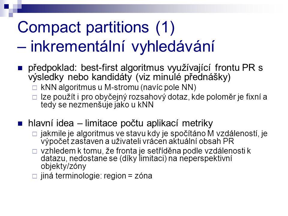 Compact partitions (1) – inkrementální vyhledávání předpoklad: best-first algoritmus využívající frontu PR s výsledky nebo kandidáty (viz minulé předn