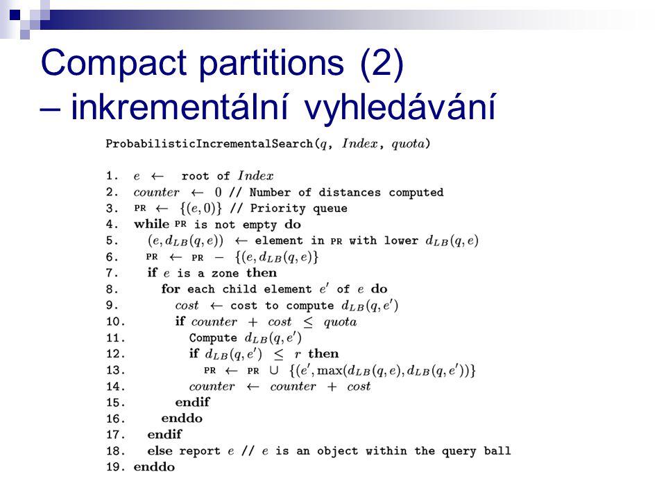 Compact partitions (2) – inkrementální vyhledávání