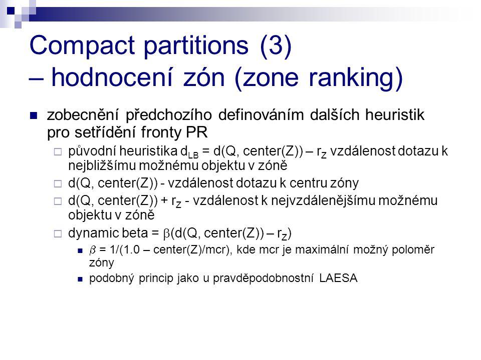 Compact partitions (3) – hodnocení zón (zone ranking) zobecnění předchozího definováním dalších heuristik pro setřídění fronty PR  původní heuristika