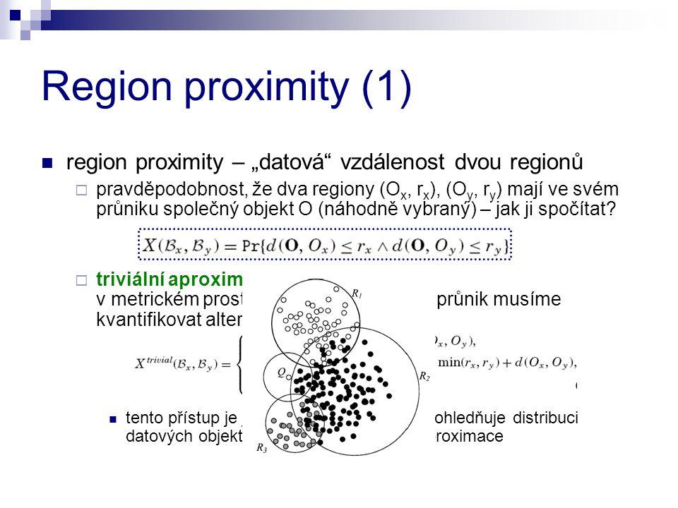 """Region proximity (1) region proximity – """"datová"""" vzdálenost dvou regionů  pravděpodobnost, že dva regiony (O x, r x ), (O y, r y ) mají ve svém průni"""