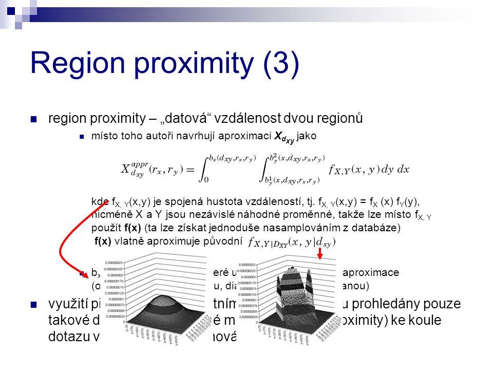 """Region proximity (3) region proximity – """"datová"""" vzdálenost dvou regionů místo toho autoři navrhují aproximaci X d xy jako kde f X, Y (x,y) je spojená"""