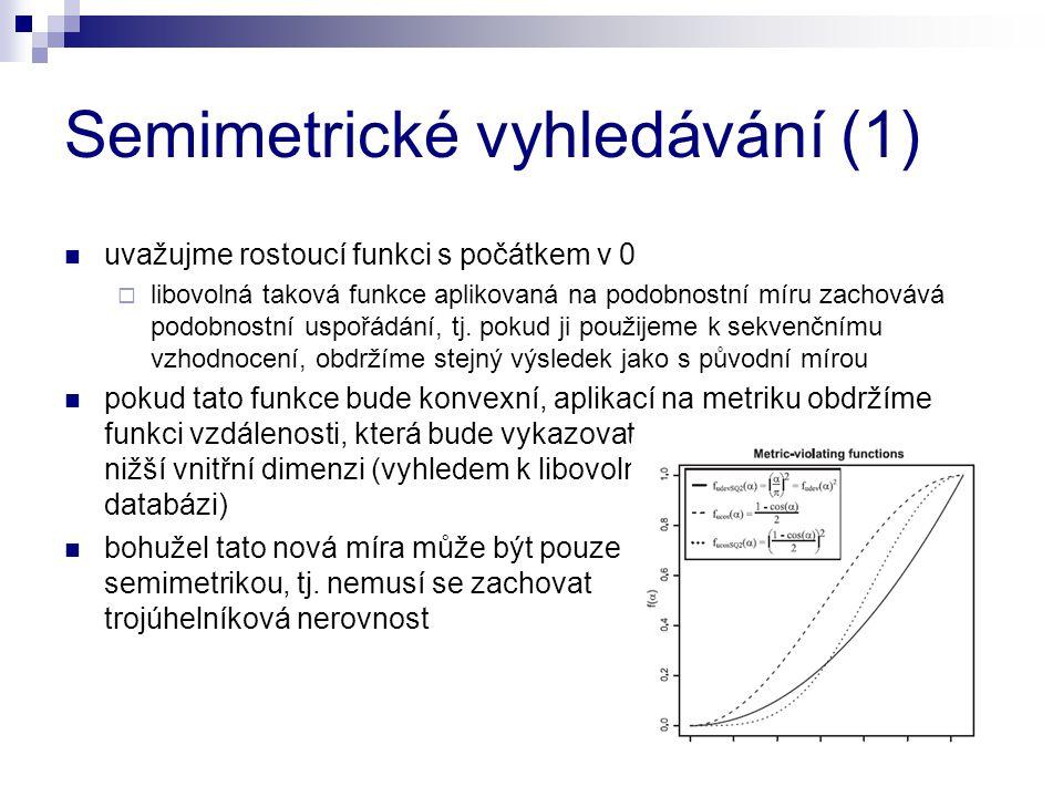 Semimetrické vyhledávání (1) uvažujme rostoucí funkci s počátkem v 0  libovolná taková funkce aplikovaná na podobnostní míru zachovává podobnostní us