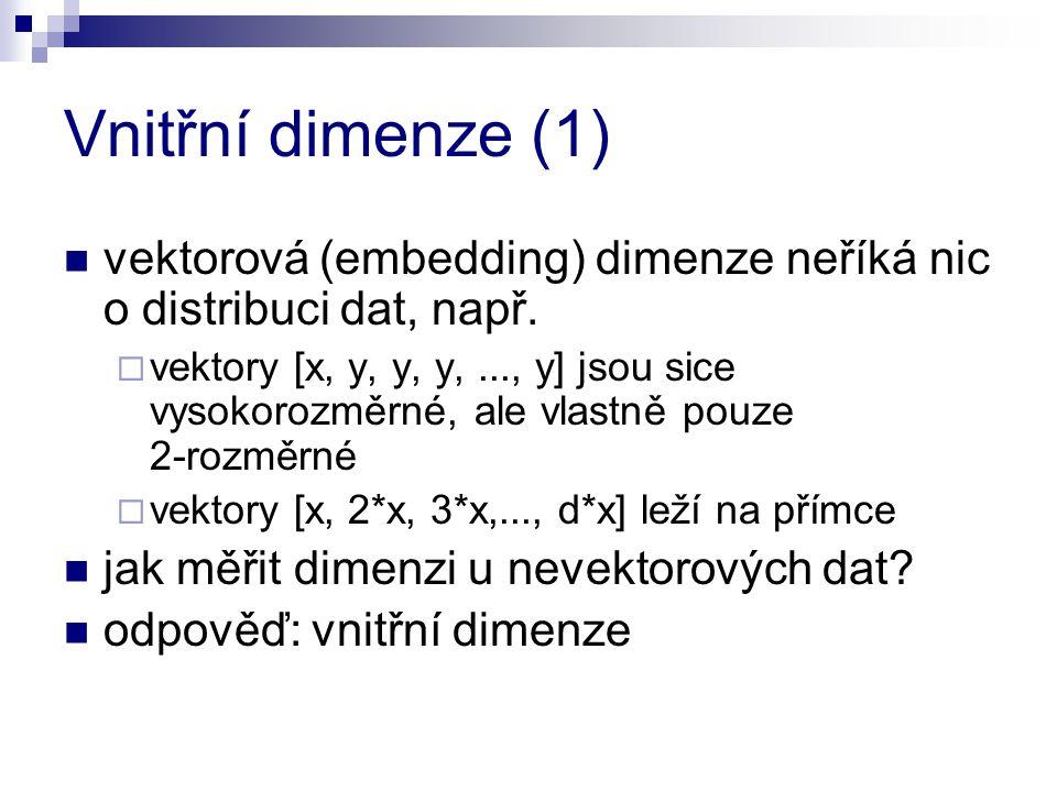 Vnitřní dimenze (1) vektorová (embedding) dimenze neříká nic o distribuci dat, např.  vektory [x, y, y, y,..., y] jsou sice vysokorozměrné, ale vlast