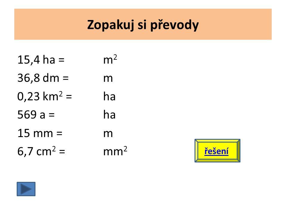 Zopakuj si převody 15,4 ha =m 2 36,8 dm =m 0,23 km 2 =ha 569 a =ha 15 mm =m 6,7 cm 2 =mm 2 řešení