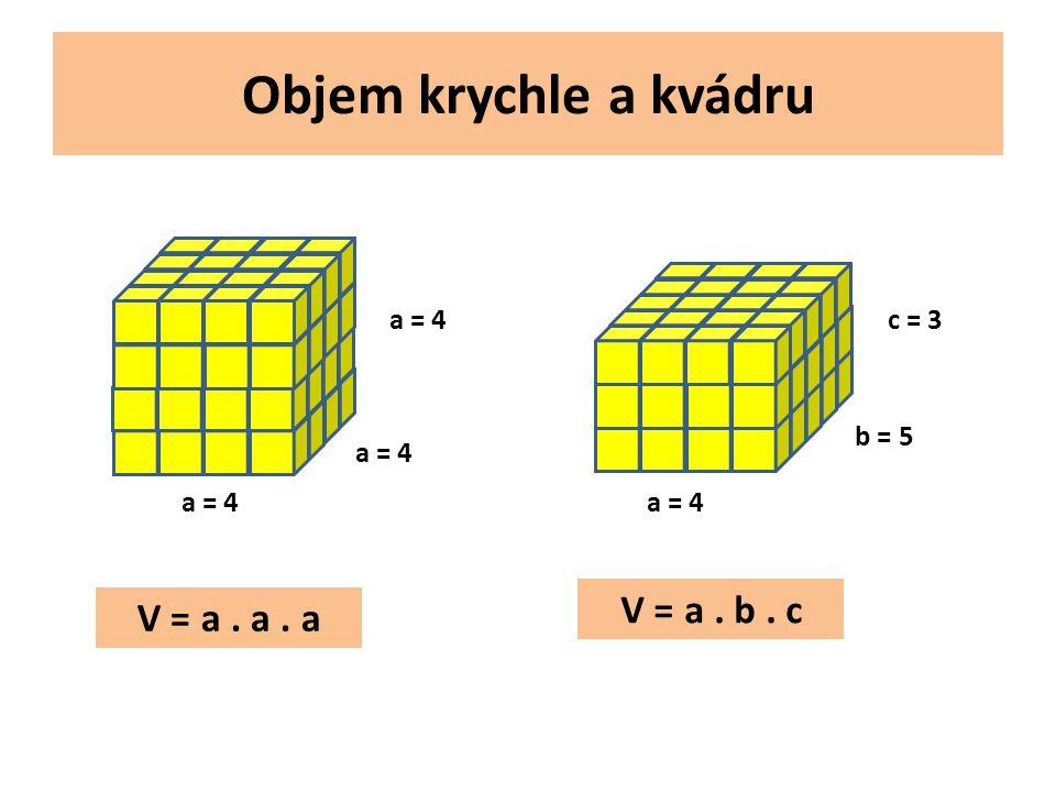 Objem krychle a kvádru a = 4 b = 5 c = 3 V = a. a. a V = a. b. c